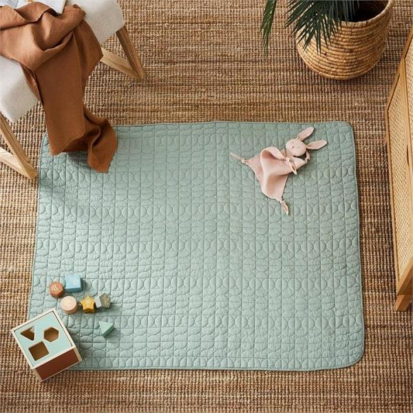 Adairs Baby Vintage Washed Linen Quilted Play Mat 120x100cm Eucalyptus