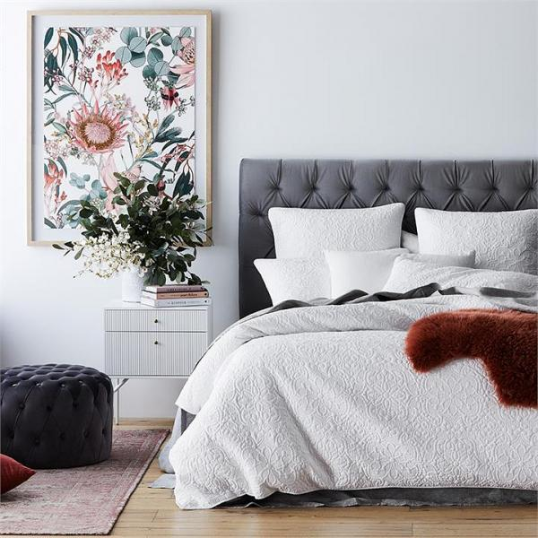 Adairs Chloe Quilted Bedlinen Super King White Quilt Cover