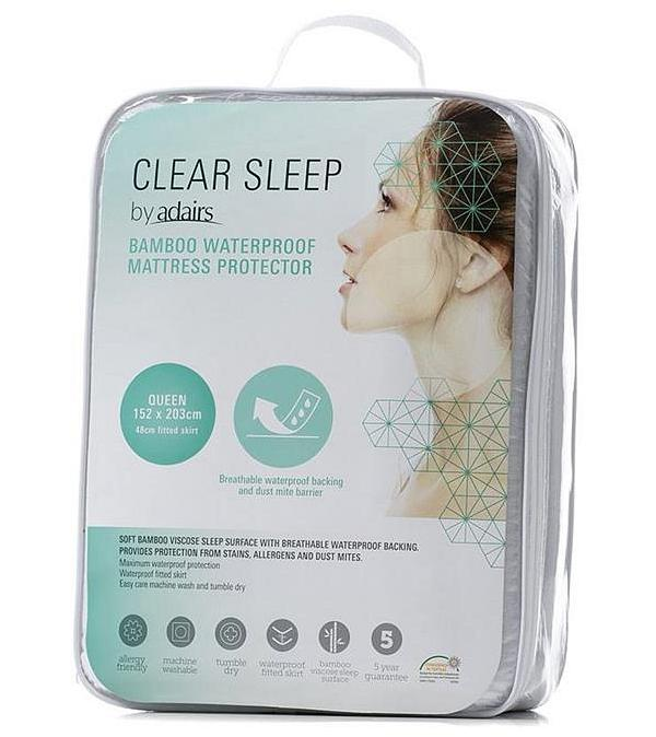 Clear Sleep Bamboo Jersey Waterproof Protector King - White By Adairs