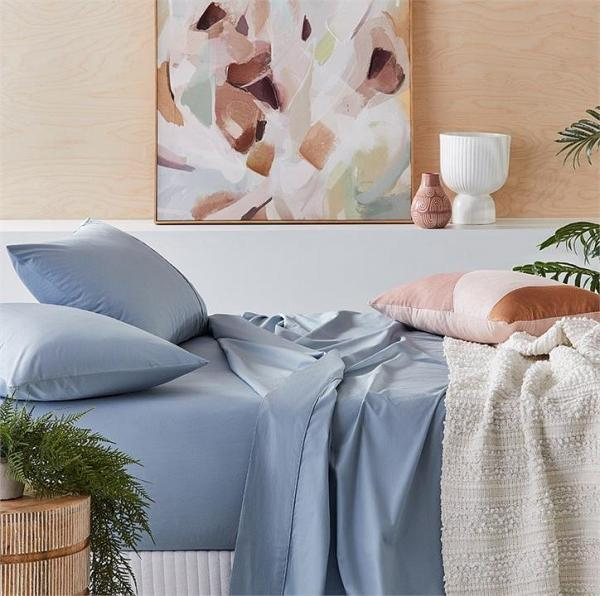 Fresh by Home Republic Fresh Sheet Set 300TC Super King Dusty Blue Sheet Set - Dustyblue By Adairs