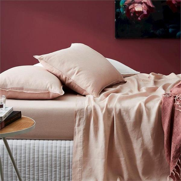 Home Republic Vintage Washed Bedlinen Fitted Sheet Nude Pink KB 180x203x45 - Nudepink By Adairs