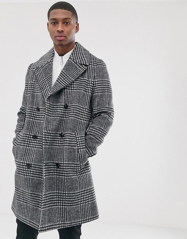 ASOS DESIGN double breasted wool mix mid length jacket in check-Grey