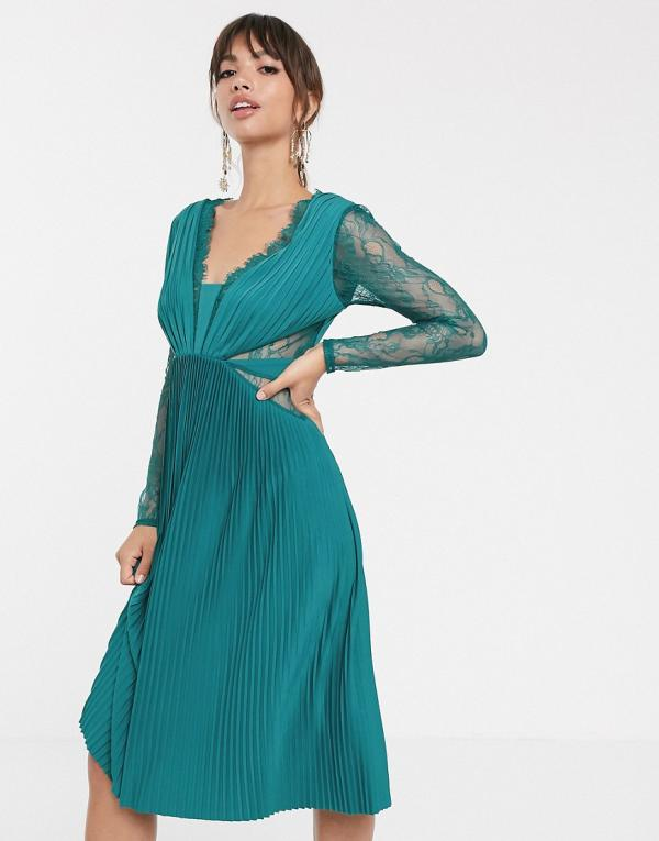 ASOS DESIGN lace and pleat long sleeve midi dress-Green