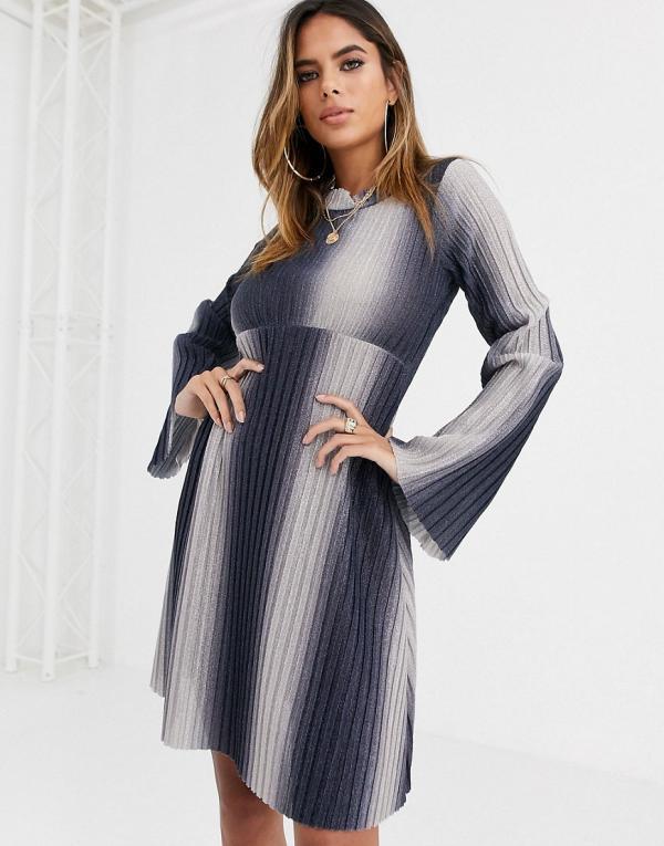 ASOS DESIGN Long sleeve ombre high neck mini smock dress in sparkle rib-Blue