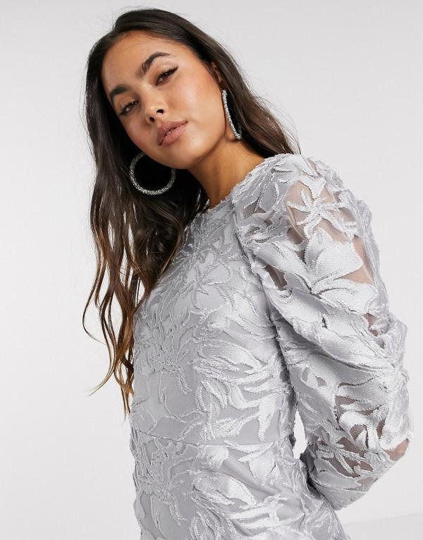 ASOS DESIGN long sleeve pleated puff sleeve burnout mini dress-Silver
