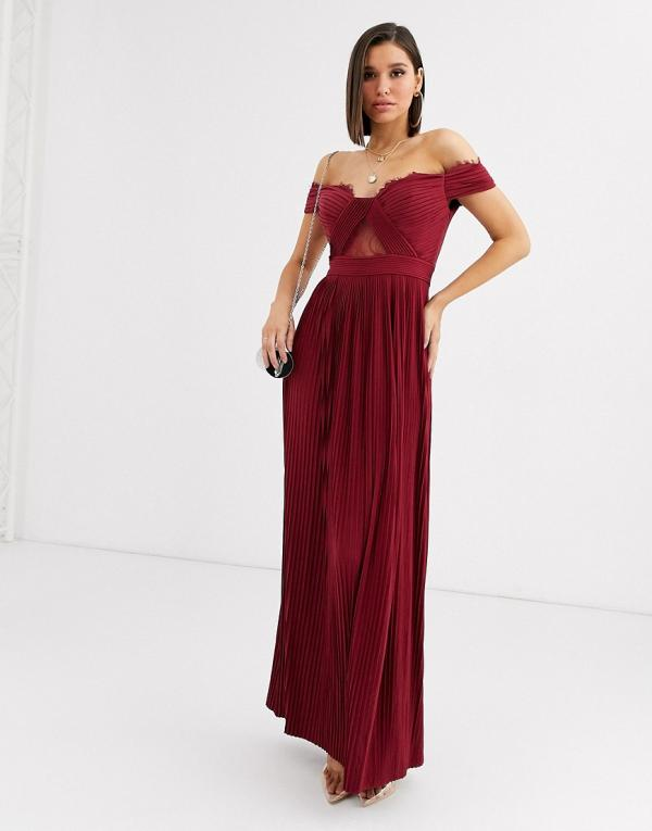 ASOS DESIGN premium lace and pleat bardot maxi dress in oxblood-Red