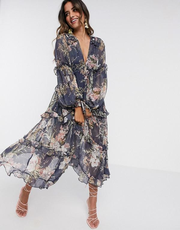 ASOS DESIGN ruched tiered midi dress in navy floral print with lace trim