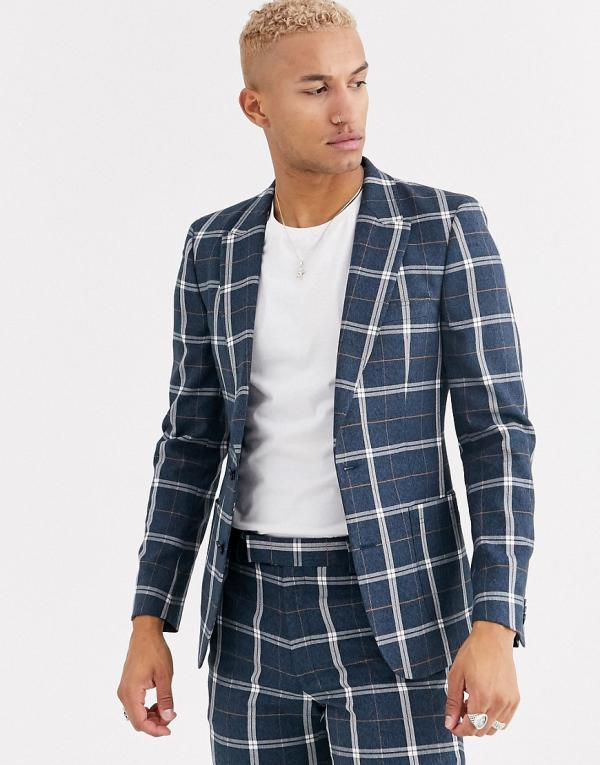 ASOS DESIGN skinny suit jacket in blue and white check