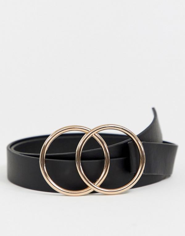 ASOS DESIGN slim belt in black faux leather with double circle buckle
