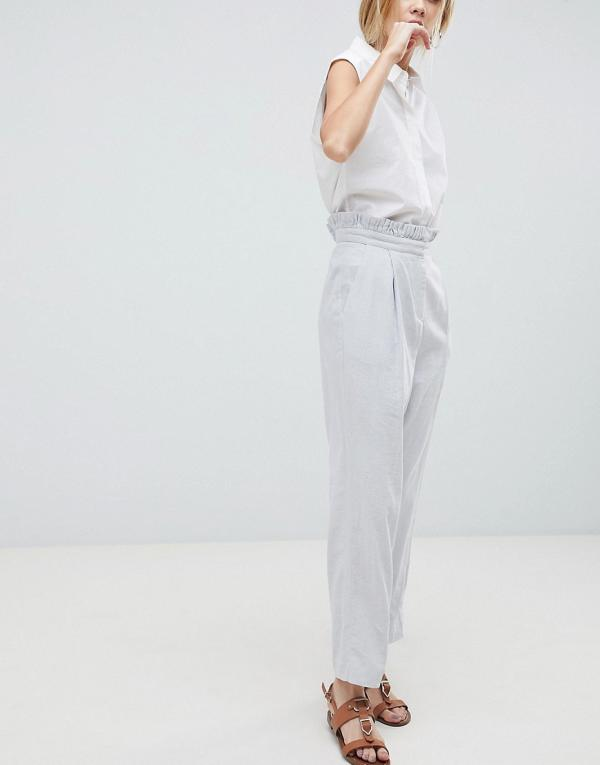 ASOS DESIGN tailored casual linen pant with frill waist-Grey