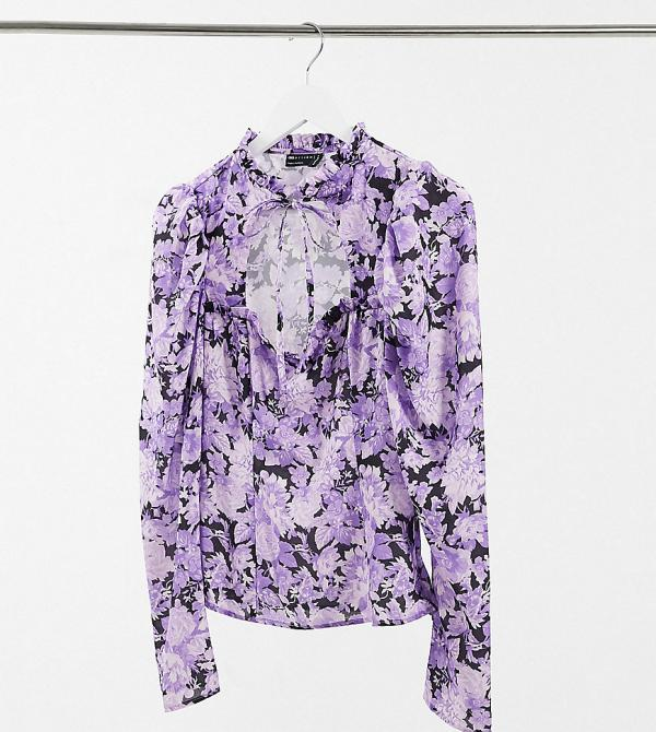 ASOS DESIGN Tall high neck top with sweetheart cut out detail in floral print-Multi