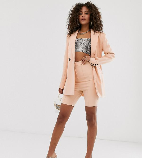 ASOS DESIGN tall skinny fit suit shorts-Neutral