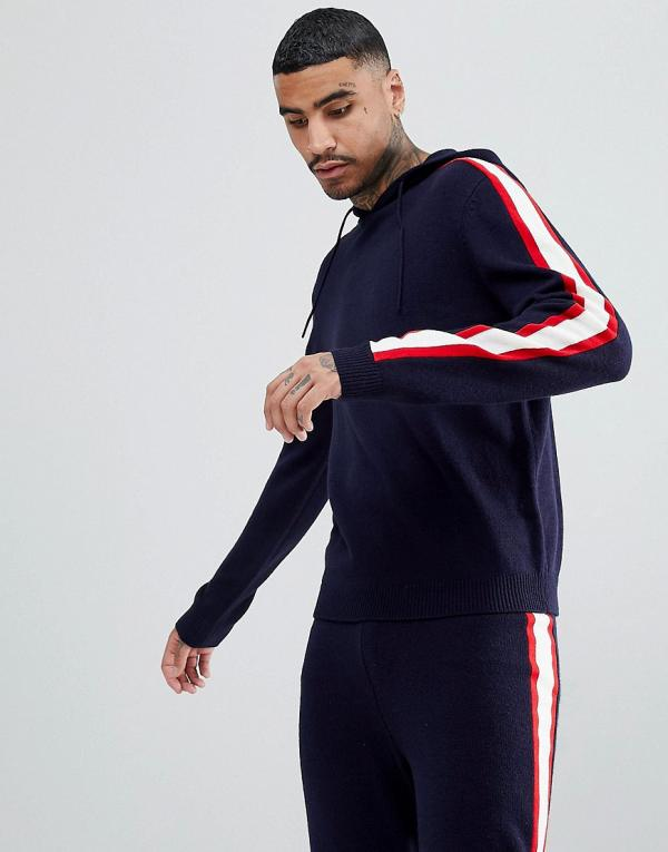 ASOS Knitted Co-ord Hoodie With Side Stripe In Navy
