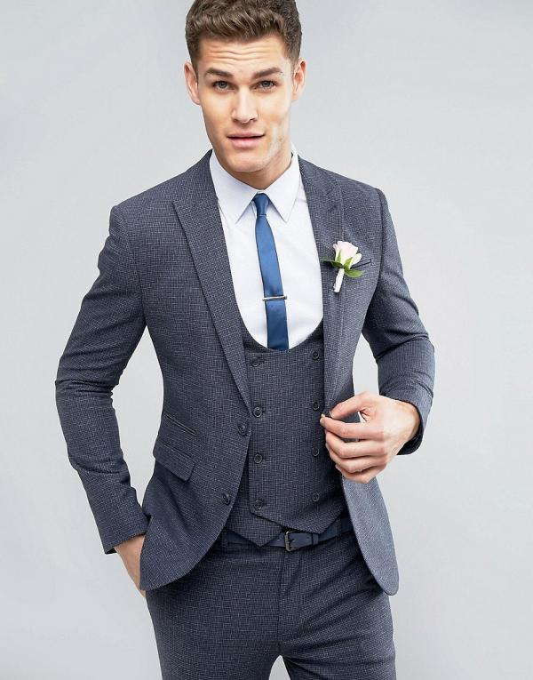 ASOS Wedding Super Skinny Suit Jacket in Mini Check In Blue