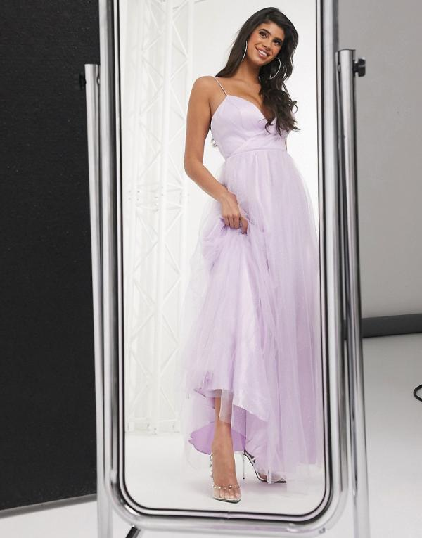 Bariano cami strap cross over full skirt maxi dress in lilac-Purple