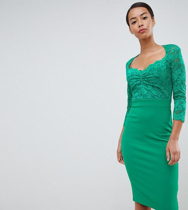 City Goddess Tall 3/4 Sleeve Lace Midi Dress-Green