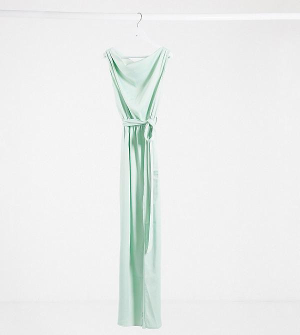 Flounce London exclusive satin drape shoulder maxi dress in mint-Navy