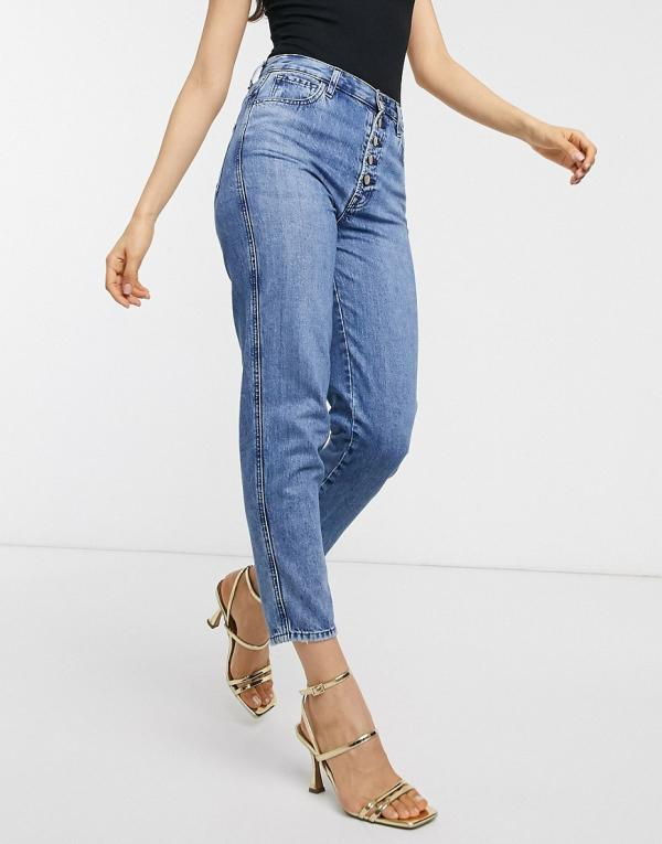 J Brand heather high rise button fly mom jeans-Blue