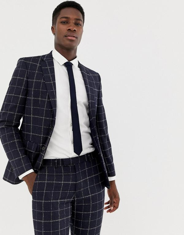 Moss London skinny suit jacket with windowpane check in navy