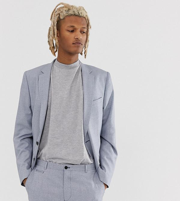 Noak slim fit suit jacket in texture-Blue
