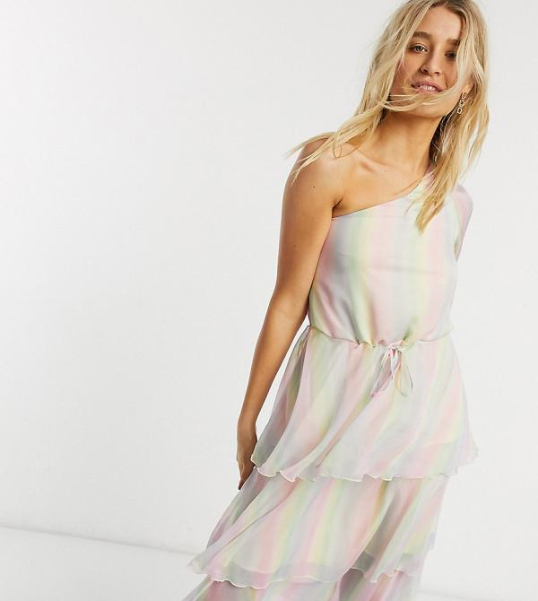 Outrageous Fortune Tall one shoulder tiered midi dress in pastel rainbow stripe-Multi