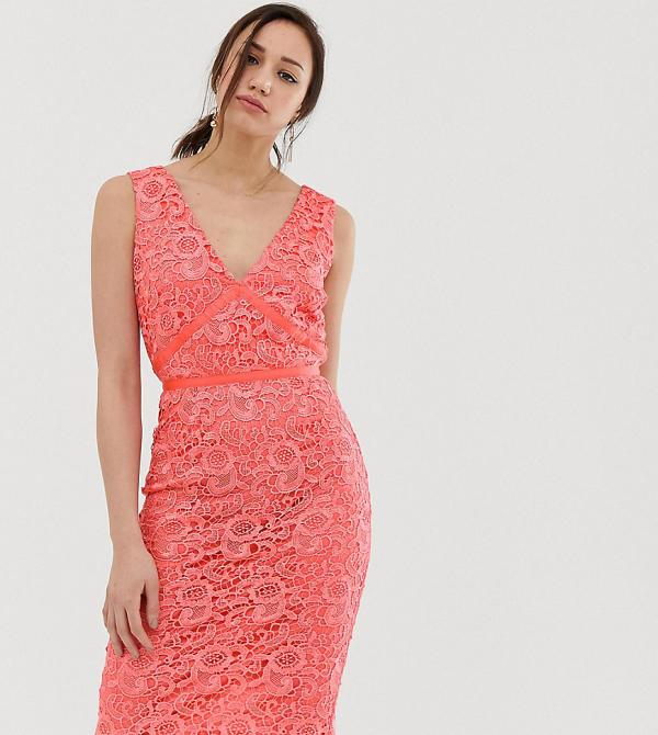 Paper Dolls Tall v neck lace pencil dress in coral-Orange