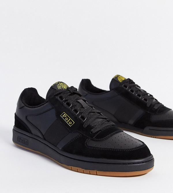 Polo Ralph Lauren sneaker in black with gold logo Exclusive to ASOS