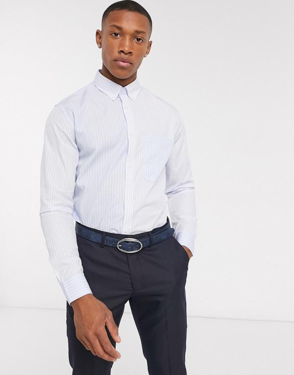 Selected Homme button down pocket stripe shirt in light blue