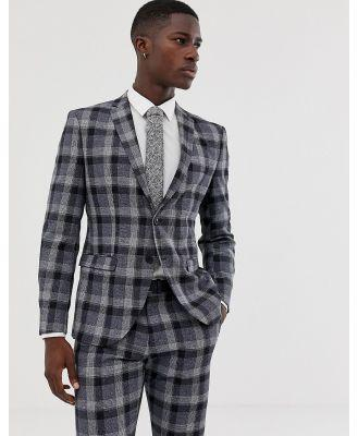 Selected Homme Navy Check Suit Jacket In Slim Fit