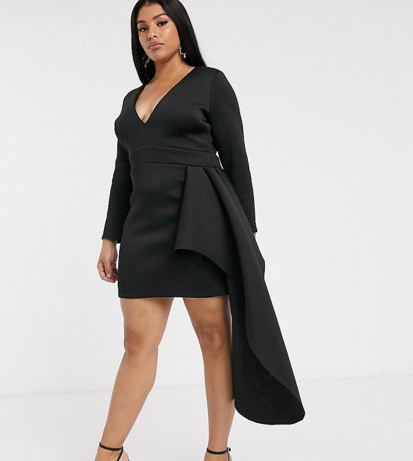 True Violet Plus plunge mini dress with frill detail in black