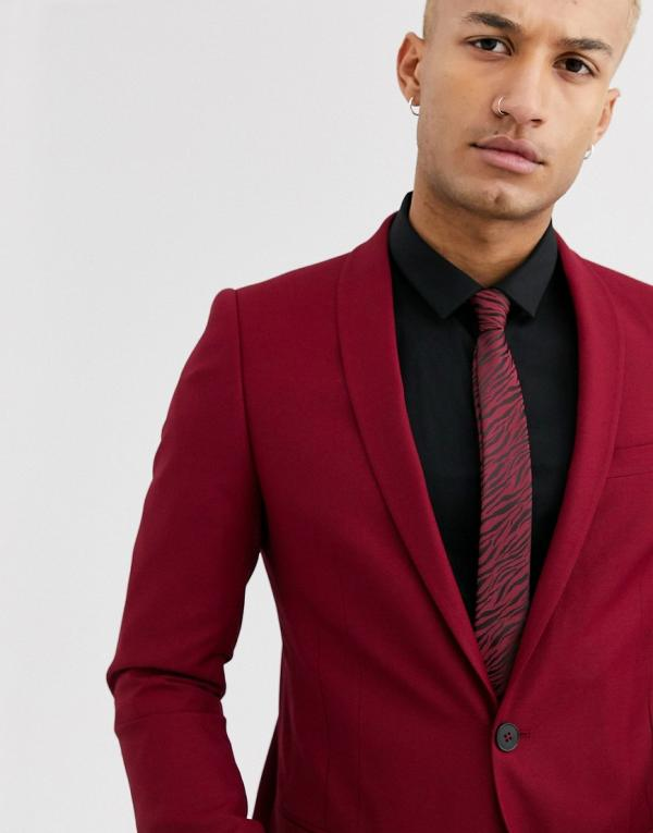 Twisted Tailor Hemmingway super skinny suit jacket in burgundy-Red