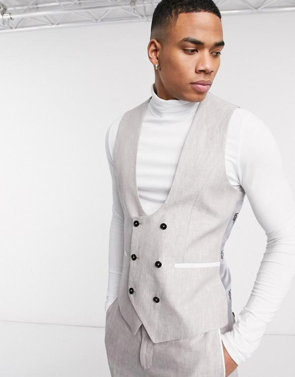 Twisted Tailor slim linen suit waiscoat in stone-Neutral