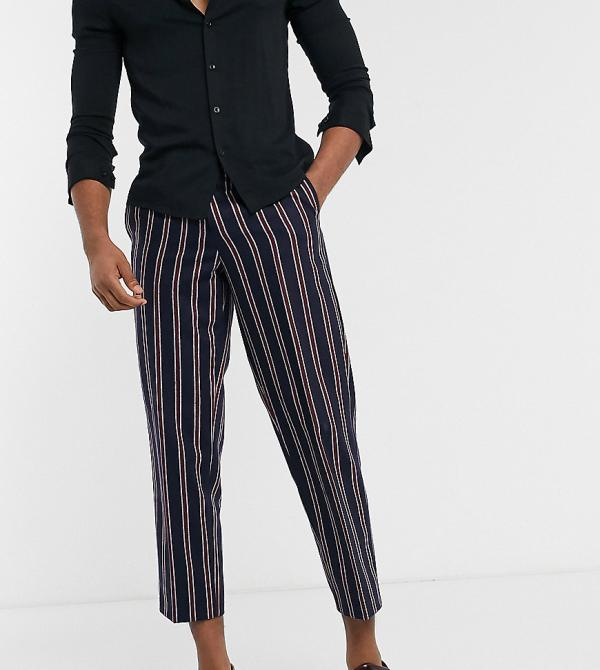 Twisted Tailor TALL pants with red stripes in navy