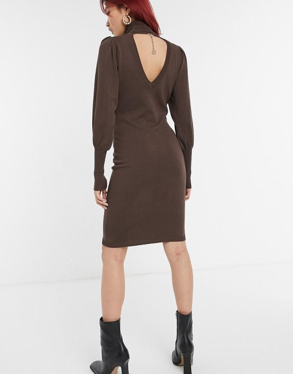 Y.A.S knitted roll-neck dress with balloon sleeves in brown