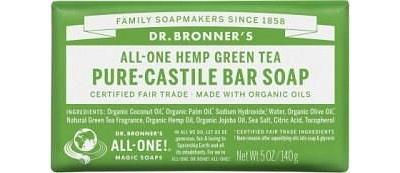 Dr Bronner's Pure Castile Bar Soap Green Tea 140g