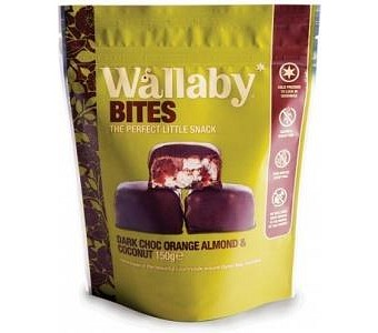 Wallaby Bites Dark Choc Orange Almond & Coconut G/F 150g