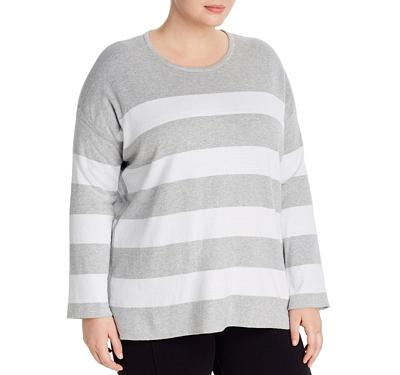 Eileen Fisher Plus Striped Organic Cotton Sweater