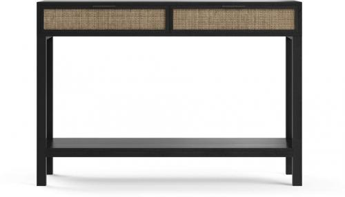 Caledonia Rattan 2 Drawer Console Table Black Solid Mango Wood
