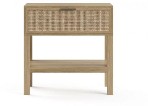 Caledonia Rattan Bedside Table Bleached Solid Mango Wood
