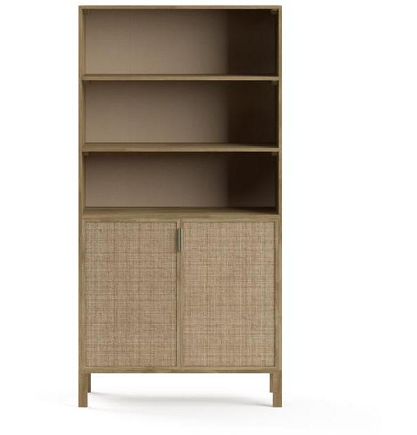 Caledonia Rattan Bookcase with Storage Bleached Solid Mango Wood
