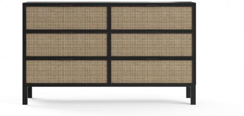 Caledonia Rattan Large Chest of Drawers Black Solid Mango Wood