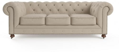 Camden Chesterfield 3 Seater Sofa French Beige