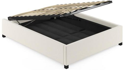 Double Size Upholstered Gaslift Bed Base Classic Cream