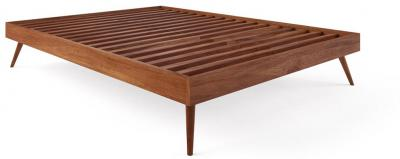 Frank Queen Size Bed Base Early American Solid Walnut Acacia Wood