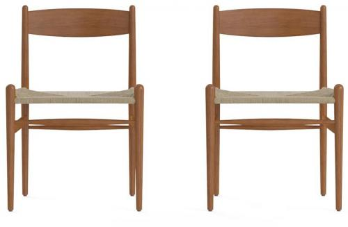 Harvey Set of 2 Dining Chairs Duffel Brown Solid Beech Wood