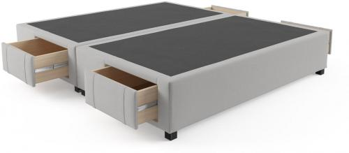 King Size Upholstered Bed Base with Drawers Cloud Grey