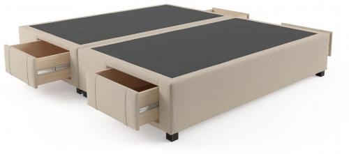 King Size Upholstered Bed Base with Drawers French Beige