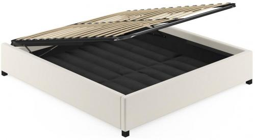 King Size Upholstered Gaslift Bed Base Classic Cream