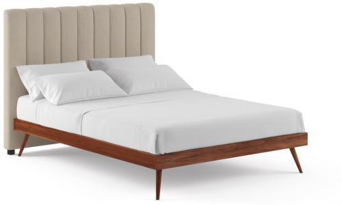 Megan and Frank Queen Size Bed Frame French Beige Early American Solid Walnut Acacia Wood