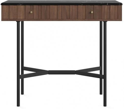 Memphis Console Table Black Stone Marble Glazed Brown Solid Acacia Wood